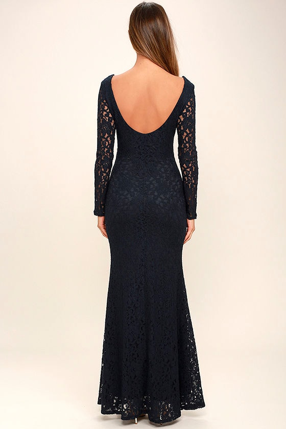 Sentimental Moment Navy Blue Lace Maxi Dress 4
