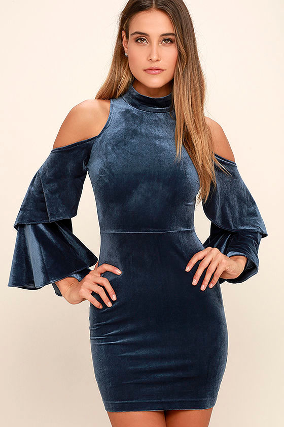 Sexy Slate Blue Dress - Velvet Cold Shoulder Dress - Bell Sleeve ...
