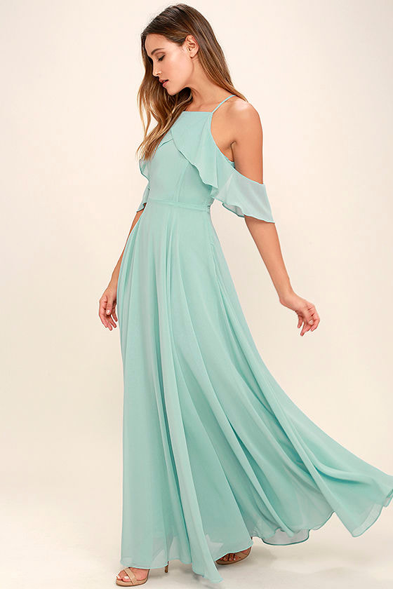 Lovely Mint Blue Dress - Off-the-Shoulder Maxi - Chiffon Maxi - $84.00