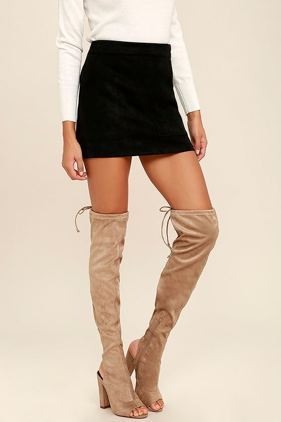 54ccb5c2a5a6 Chic Taupe Boots - Vegan Suede Boots - Over the Knee Boots - Peep-Toe Boots  - $46.00