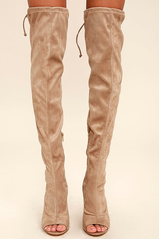 017472146d54 Chic Taupe Boots - Vegan Suede Boots - Over the Knee Boots - Peep ...