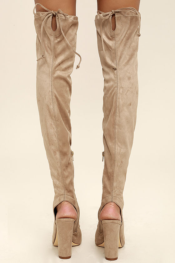Alessandra Taupe Suede Peep-Toe Over the Knee Boots 4