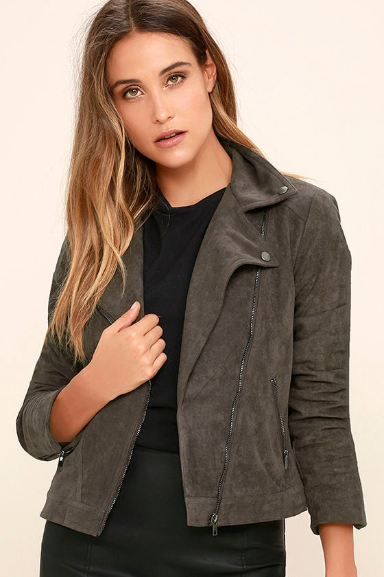 Catch You on the Flip Side Charcoal Grey Suede Moto Jacket 1