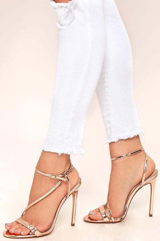 9caf0241bb4d Y Rose Gold Heels Vegan Leather Dress Sandals