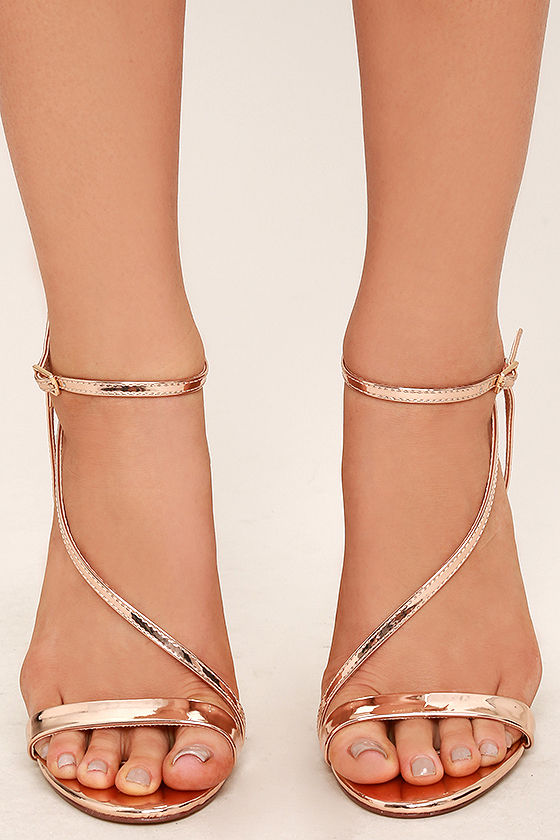 35eab50e95 Sexy Rose Gold Heels - Vegan Leather Heels - Dress Sandals ...