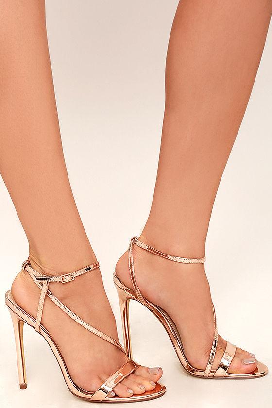 sexy rose gold heels   vegan leather heels   dress sandals