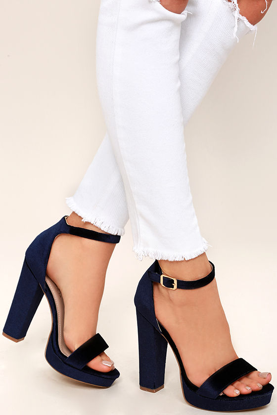 9b9c3d162cd8 Sexy Blue Velvet Heels - Velvet Platform Heels - Ankle Strap Heels ...