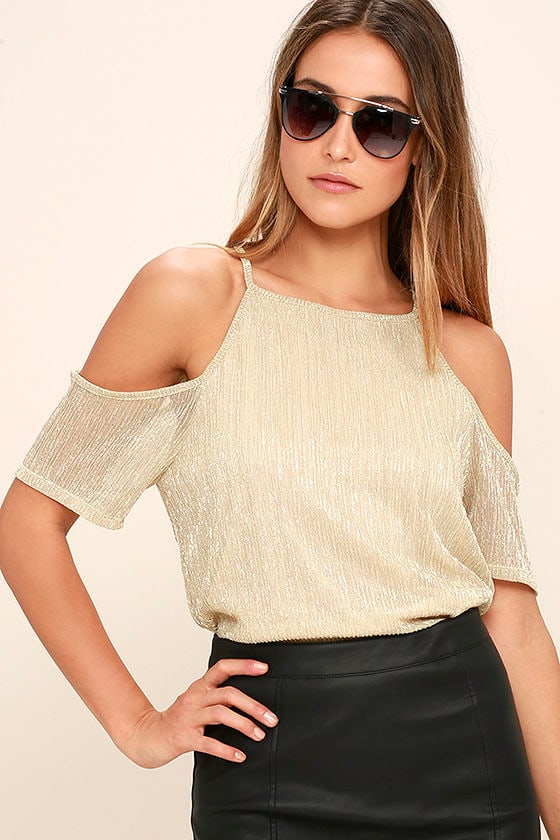 373289cd59 Sexy Gold Top - Off-The-Shoulder Top - Short Sleeve Top -  34.00