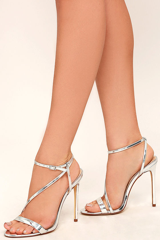 471841ef199 Sexy Silver Heels - Vegan Leather Heels - Dress Sandals - Metallic Heels -   30.00