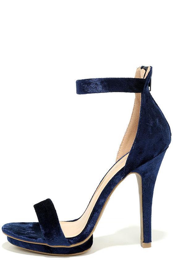 b38be100ebd1 Sexy Navy Blue Heels - Velvet Heels - Ankle Strap Heels -  26.00