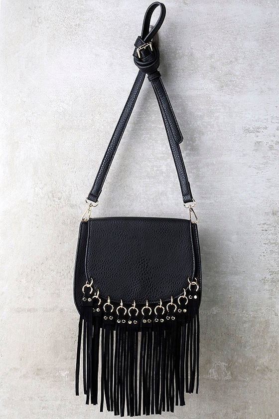 Cute Black Purse - Fringe Purse - Vegan Leather Purse -  43.00 f2d6c0872cc38