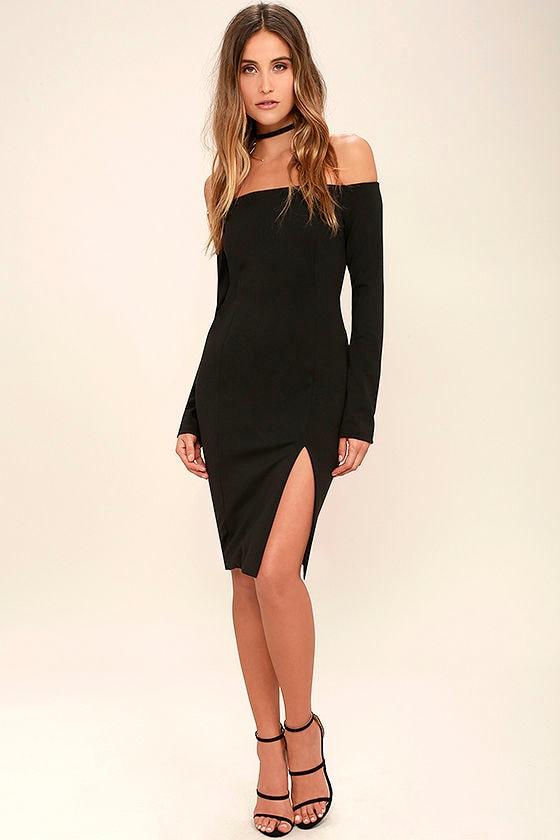 17fcea0f806 Sweet Fantasy Black Backless Off-the-Shoulder Dress