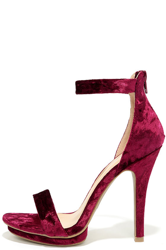 b0c820457b9 Samantha Burgundy Velvet Platform High Heel Sandals