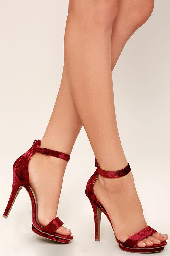 445eeb223b82 Sexy Burgundy Heels - Velvet Heels - Ankle Strap Heels -  26.00