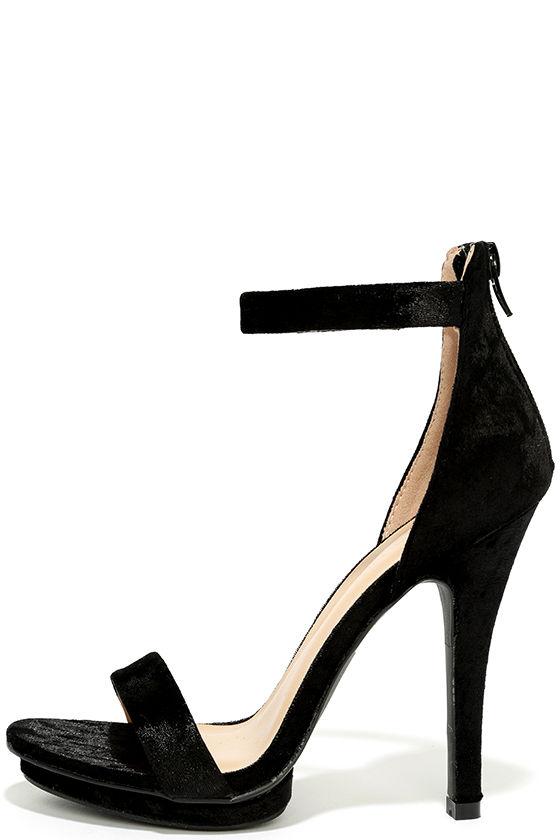 Sexy Black Heels - Velvet Heels - Ankle Strap Heels - $26.00