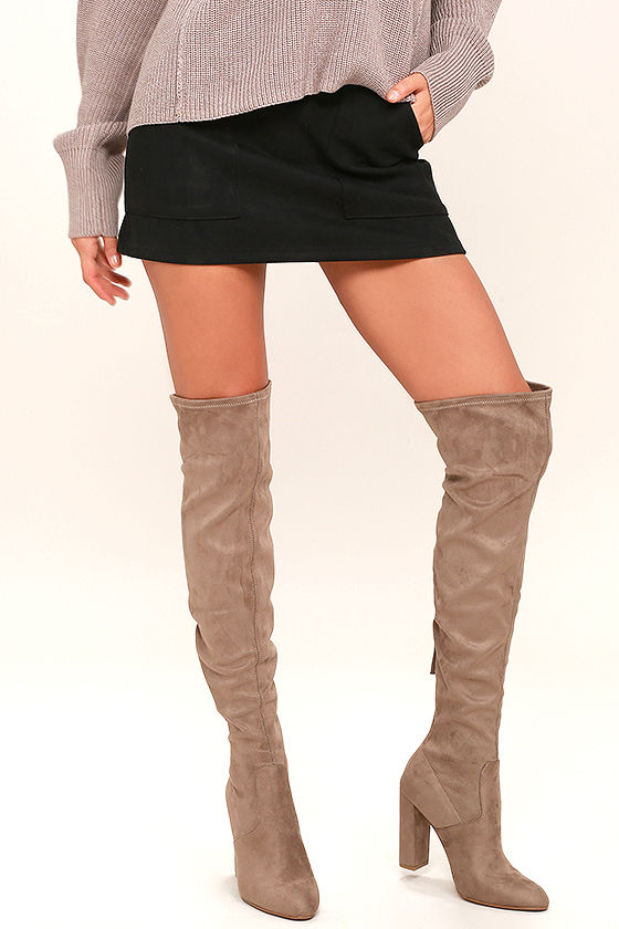 256a25e176f Steve Madden Emotions Boots - Taupe Over the Knee Boots - Suede OTK Boots -   99.00