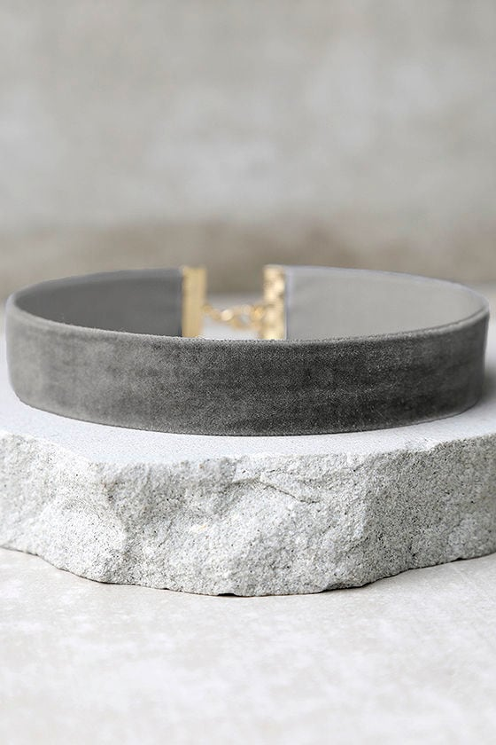 One Moment in Time Grey Velvet Choker Necklace 1