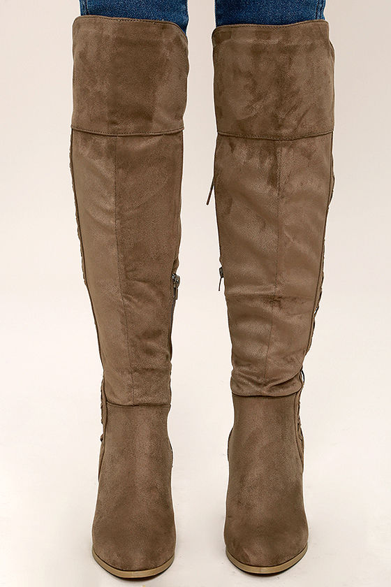 Margaery Taupe Suede Knee High Boots 2
