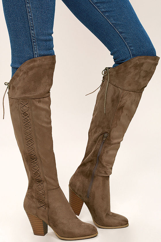 Margaery Taupe Suede Knee High Boots 3