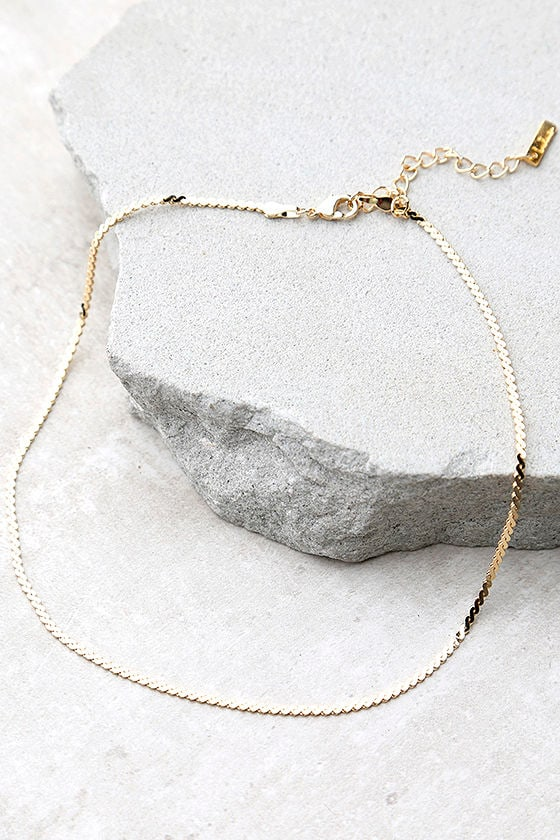 Go Ahead Now Gold Chain Choker Necklace 1