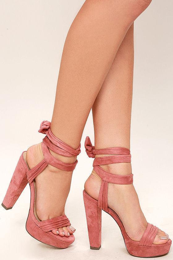 Sexy Pink Suede Heels - Platform Lace-Up Heels - Vegan Suede Heels ...