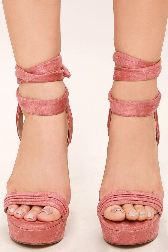 ff795f191e5 Corrine Dusty Pink Suede Lace-Up Platform Heels
