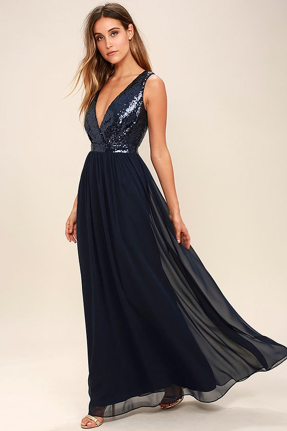 Lovely Navy Blue Maxi Dress - Sequin Maxi Dress - Plunge Sequin ...