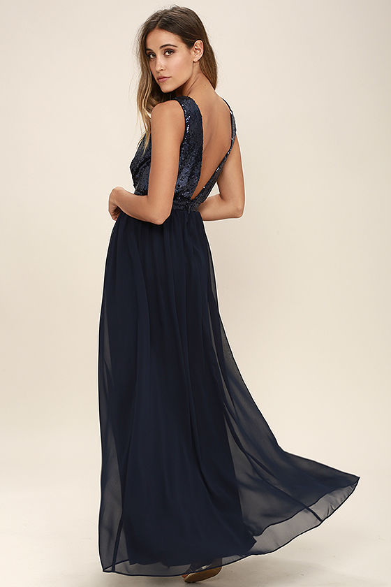 Elegant Encounter Navy Blue Sequin Maxi Dress 3