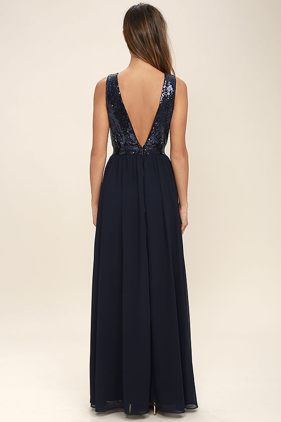 Elegant Encounter Navy Blue Sequin Maxi Dress 4