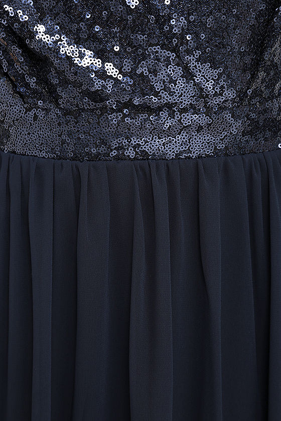 Elegant Encounter Navy Blue Sequin Maxi Dress 6