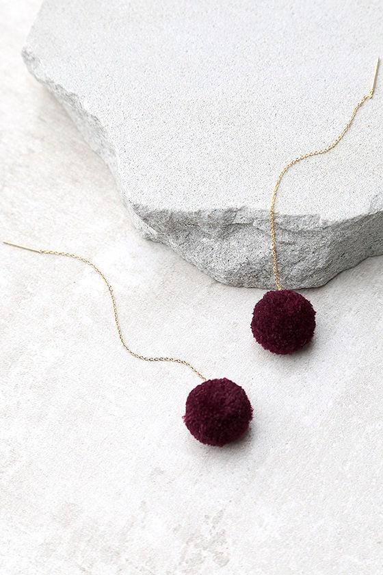 Beautiful Stranger Gold and Burgundy Pompom Threader Earrings 2
