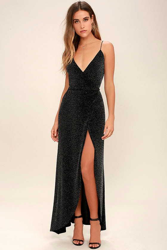 Celestial Black and Silver Wrap Maxi Dress 1