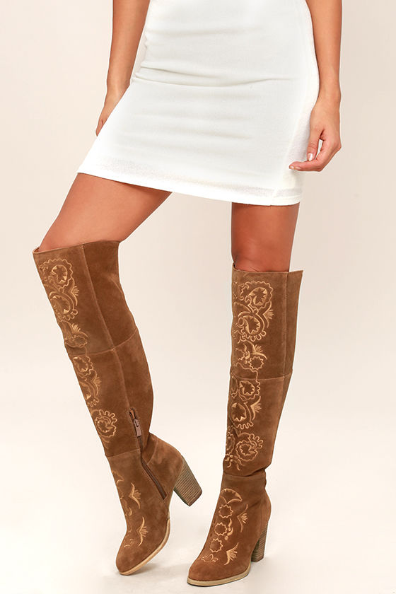 cfd3c3f6848 Sbicca Acapella Boots - Tan Embroidered Boots - Over the Knee Boots