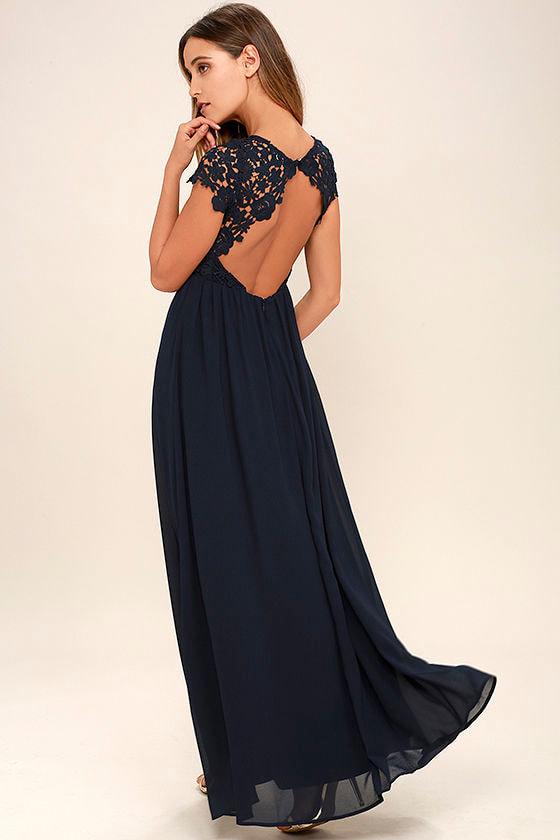 Lovely Navy Blue Dress - Lace Dress - Maxi Dress - $86.00