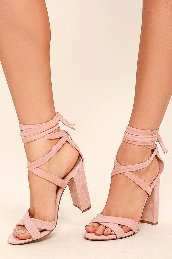 Steve Madden Christey Light Pink Suede Leather Lace-Up Heels