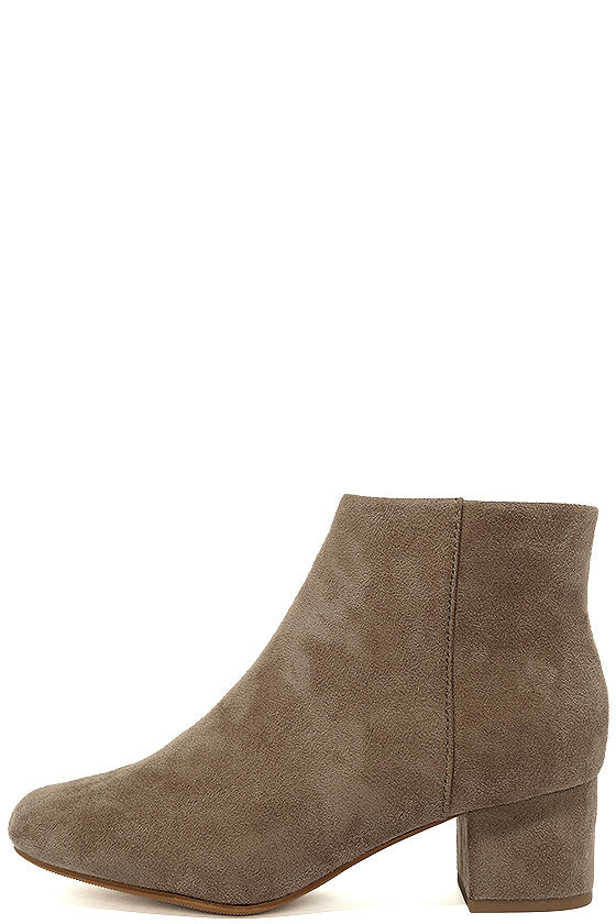 Melanie Smoke Taupe Suede Ankle Booties 1