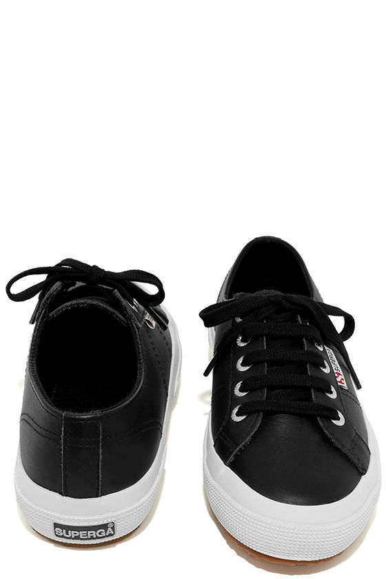 Superga 2750 FGLU Black Leather Sneakers 3
