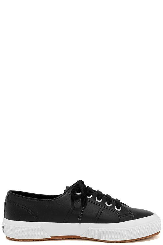 Superga 2750 FGLU Black Leather Sneakers 4