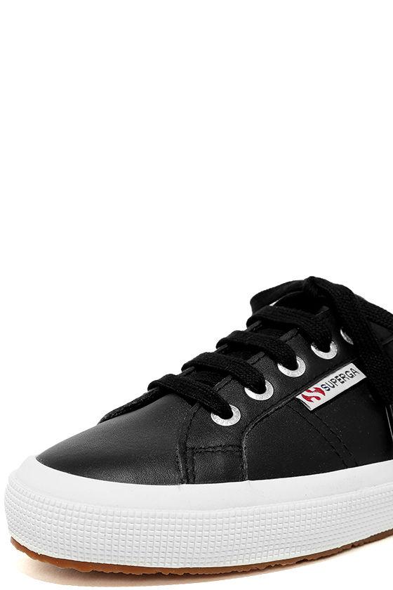 Superga 2750 FGLU Black Leather Sneakers 6