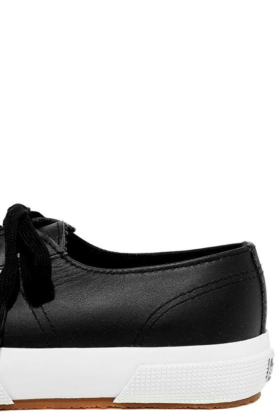 Superga 2750 FGLU Black Leather Sneakers 7