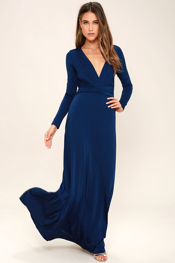 Lovely Navy Blue Dress - Maxi Dress - Long Sleeve Dress - $64.00