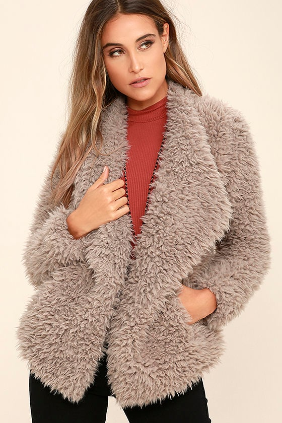 7fc1d6764b38 Billabong Do It Fur Love Coat - Grey Coat - Faux Fur Coat - $129.95
