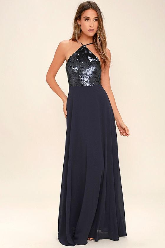 Beautiful Navy Blue Maxi Dress - Sequin Maxi Dress