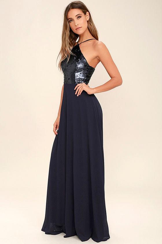 The Best Part Navy Blue Sequin Maxi Dress 1