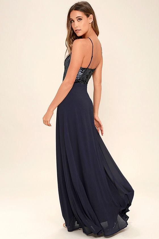 Lovely Navy Blue Maxi Dress - Sequin Maxi Dress - Plunge