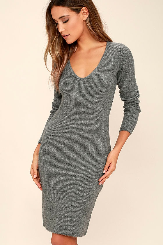 Black Swan Wynona Heather Grey Sweater Dress 1