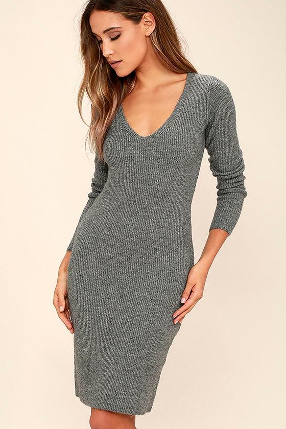 f3ec320f82b Black Swan Wynona Dress - Heather Grey Dress - Sweater Dress - $75.00