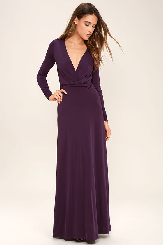 Lovely Plum Purple Dress - Maxi Dress - Long Sleeve Dress - $64.00