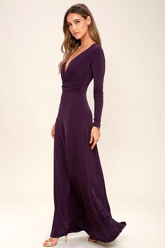 db3d86ee6dc Lovely Plum Purple Dress - Maxi Dress - Long Sleeve Dress - $64.00