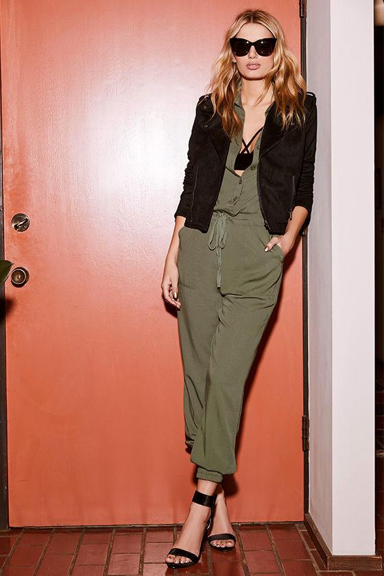 aae0aa3ec85 Cool Olive Green Jumpsuit - Three-Quarter Sleeve Jumpsuit - Collared ...